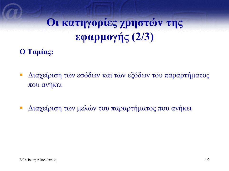 Ματίκας Αθανάσιος19 Οι κατηγορίες χρηστών της εφαρμογής (2/3) Ο Ταμίας:  Διαχείριση των εσόδων και των εξόδων του παραρτήματος που ανήκει  Διαχείρισ