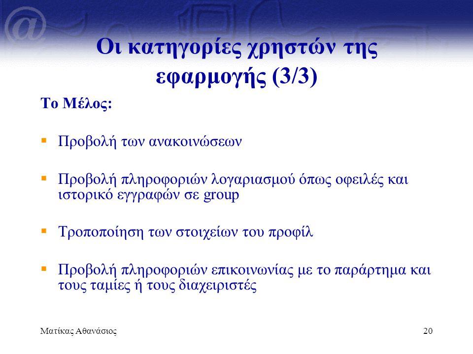 Ματίκας Αθανάσιος20 Οι κατηγορίες χρηστών της εφαρμογής (3/3) Το Μέλος:  Προβολή των ανακοινώσεων  Προβολή πληροφοριών λογαριασμού όπως οφειλές και
