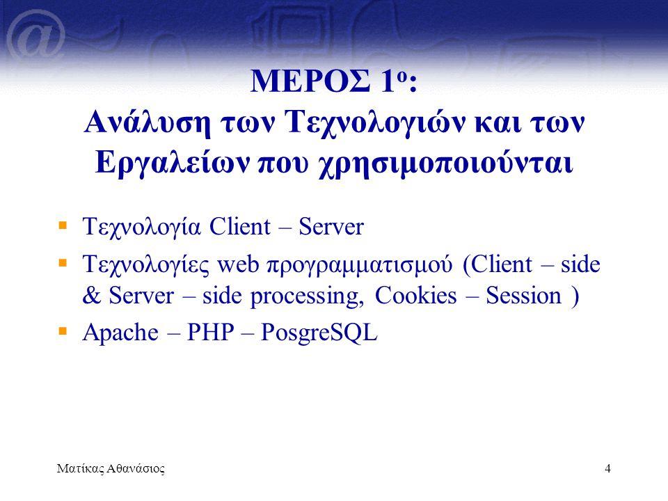Ματίκας Αθανάσιος4 ΜΕΡΟΣ 1 ο : Ανάλυση των Τεχνολογιών και των Εργαλείων που χρησιμοποιούνται  Τεχνολογία Client – Server  Τεχνολογίες web προγραμμα