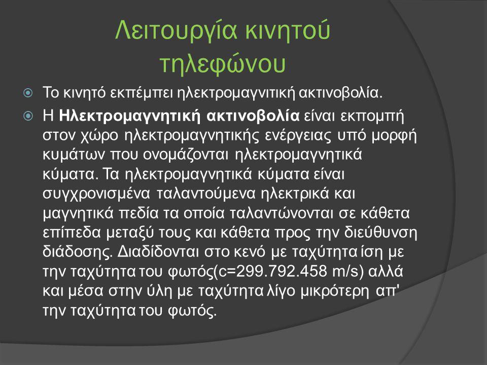Λειτουργία κινητού τηλεφώνου  Το κινητό εκπέμπει ηλεκτρομαγνιτική ακτινοβολία.  Η Ηλεκτρομαγνητική ακτινοβολία είναι εκπομπή στον χώρο ηλεκτρομαγνητ