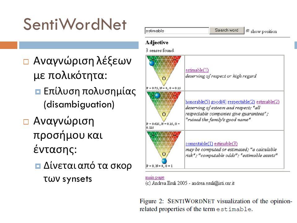 SentiWordNet  Αναγνώριση λέξεων με πολικότητα :  Επίλυση πολυσημίας (disambiguation)  Αναγνώριση προσήμου και έντασης :  Δίνεται από τα σκορ των s