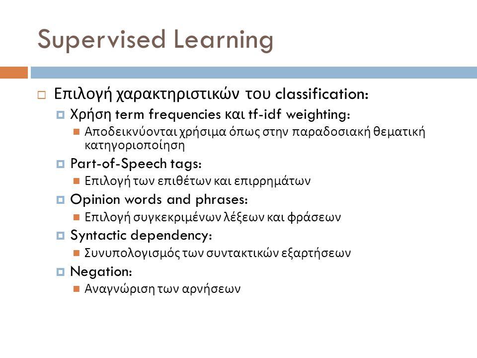 Supervised Learning  Επιλογή χαρακτηριστικών του classification:  Χρήση term frequencies και tf-idf weighting:  Αποδεικνύονται χρήσιμα όπως στην πα
