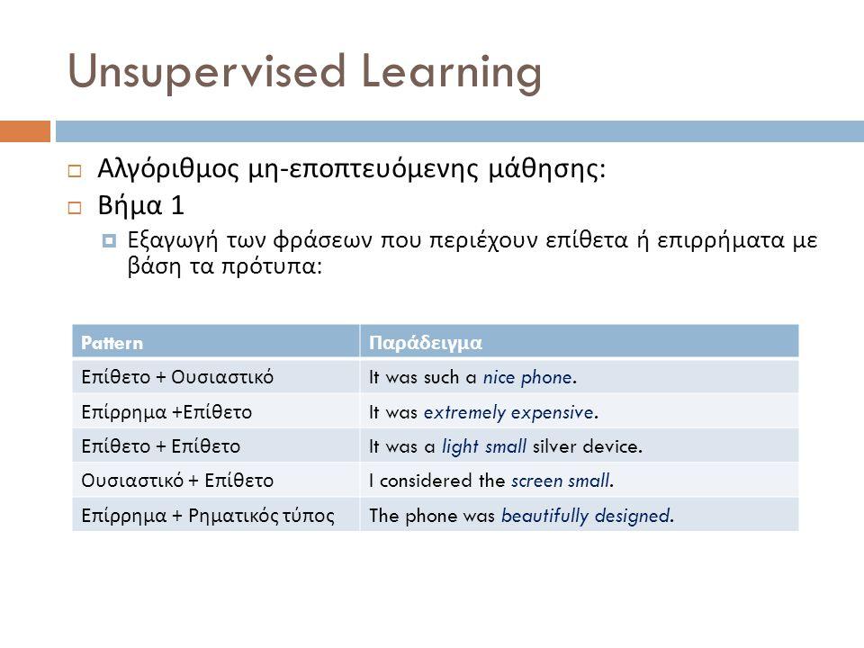 Unsupervised Learning  Αλγόριθμος μη - εποπτευόμενης μάθησης :  Βήμα 1  Εξαγωγή των φράσεων που περιέχουν επίθετα ή επιρρήματα με βάση τα πρότυπα :