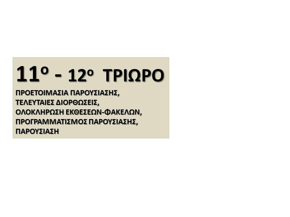 11 ο - 12 ο ΤΡΙΩΡΟ ΠΡΟΕΤΟΙΜΑΣΙΑ ΠΑΡΟΥΣΙΑΣΗΣ, ΤΕΛΕΥΤΑΙΕΣ ΔΙΟΡΘΩΣΕΙΣ, ΟΛΟΚΛΗΡΩΣΗ ΕΚΘΕΣΕΩΝ-ΦΑΚΕΛΩΝ, ΠΡΟΓΡΑΜΜΑΤΙΣΜΟΣ ΠΑΡΟΥΣΙΑΣΗΣ, ΠΑΡΟΥΣΙΑΣΗ