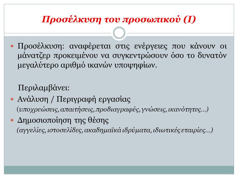 Προσέλκυση του προσωπικού (Ι)  Προσέλκυση: αναφέρεται στις ενέργειες που κάνουν οι μάνατζερ προκειμένου να συγκεντρώσουν όσο το δυνατόν μεγαλύτερο αρ