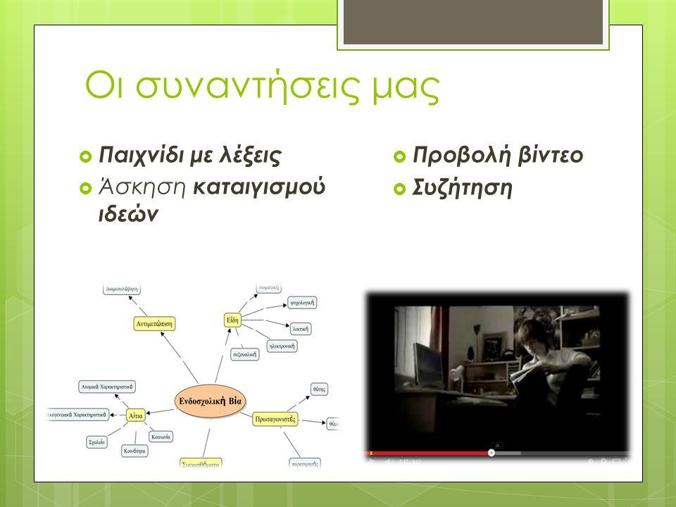 Οι συναντήσεις μας  Παιχνίδι με λέξεις  Άσκηση καταιγισμού ιδεών  Προβολή βίντεο  Συζήτηση