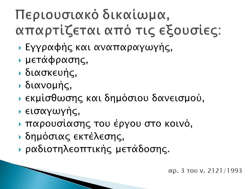 Creative Commons στην ελληνική έκδοση Μη αποκλειστικές άδειες ανοικτού περιεχομένου Εξουσίες αναπαραγωγής, παρουσίασης στο κοινό, διανομής και μετατροπής του έργου
