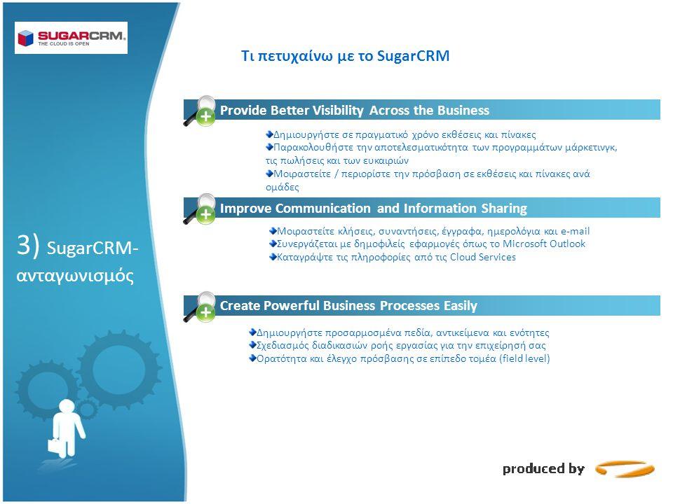 Τι πετυχαίνω με το SugarCRM Provide Better Visibility Across the Business Δημιουργήστε σε πραγματικό χρόνο εκθέσεις και πίνακες Παρακολουθήστε την αποτελεσματικότητα των προγραμμάτων μάρκετινγκ, τις πωλήσεις και των ευκαιριών Μοιραστείτε / περιορίστε την πρόσβαση σε εκθέσεις και πίνακες ανά ομάδες Increase the Productivity of Your Sales Force Μοιραστείτε κλήσεις, συναντήσεις, έγγραφα, ημερολόγια και e-mail Συνεργάζεται με δημοφιλείς εφαρμογές όπως το Microsoft Outlook Καταγράψτε τις πληροφορίες από τις Cloud Services Improve Communication and Information Sharing Create Powerful Business Processes Easily Δημιουργήστε προσαρμοσμένα πεδία, αντικείμενα και ενότητες Σχεδιασμός διαδικασιών ροής εργασίας για την επιχείρησή σας Ορατότητα και έλεγχο πρόσβασης σε επίπεδο τομέα (field level) 3) SugarCRM- ανταγωνισμός