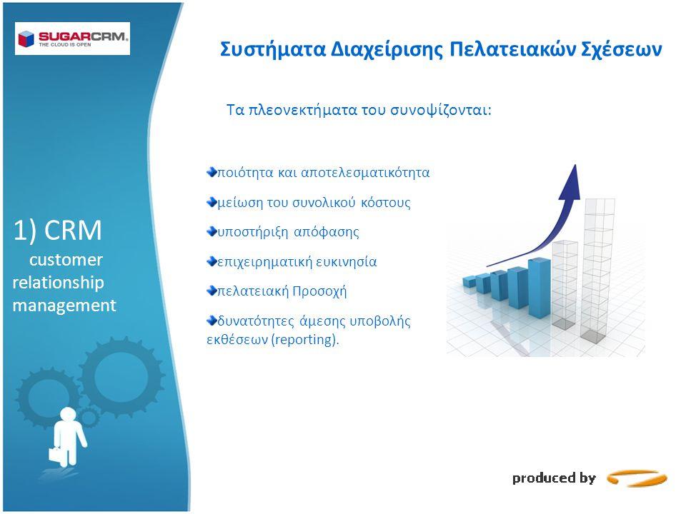 1) CRM customer relationship management Τα πλεονεκτήματα του συνοψίζονται: ποιότητα και αποτελεσματικότητα μείωση του συνολικού κόστους υποστήριξη απόφασης επιχειρηματική ευκινησία πελατειακή Προσοχή δυνατότητες άμεσης υποβολής εκθέσεων (reporting).