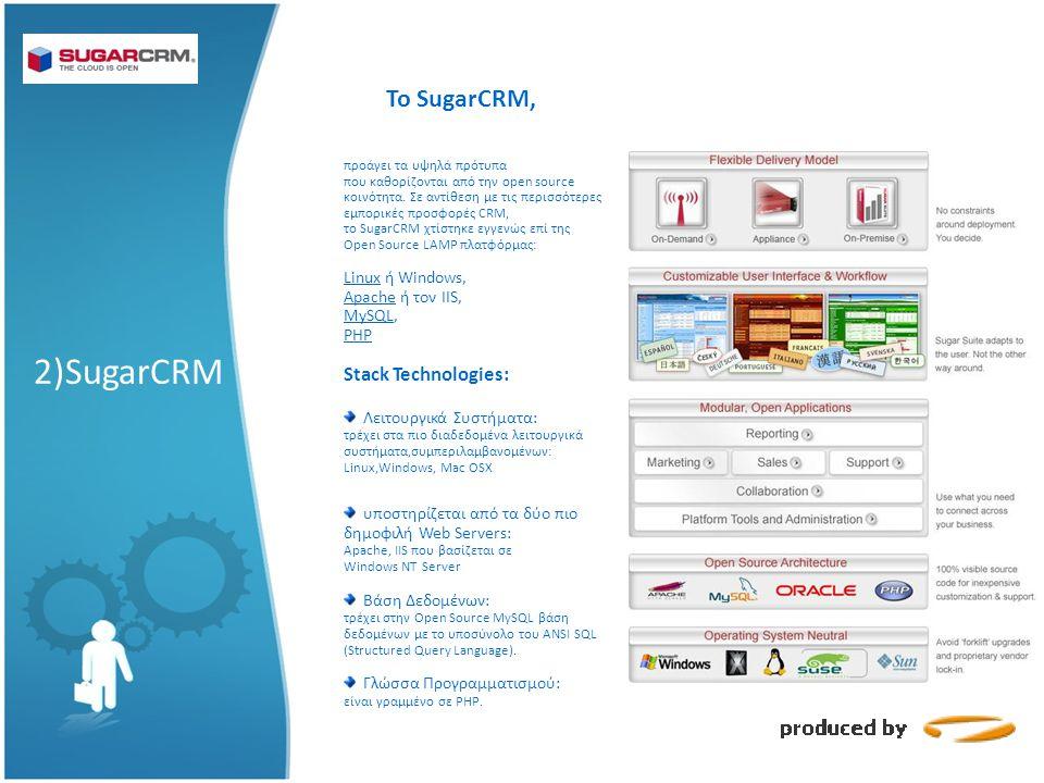 Το SugarCRM, 2)SugarCRM προάγει τα υψηλά πρότυπα που καθορίζονται από την open source κοινότητα.