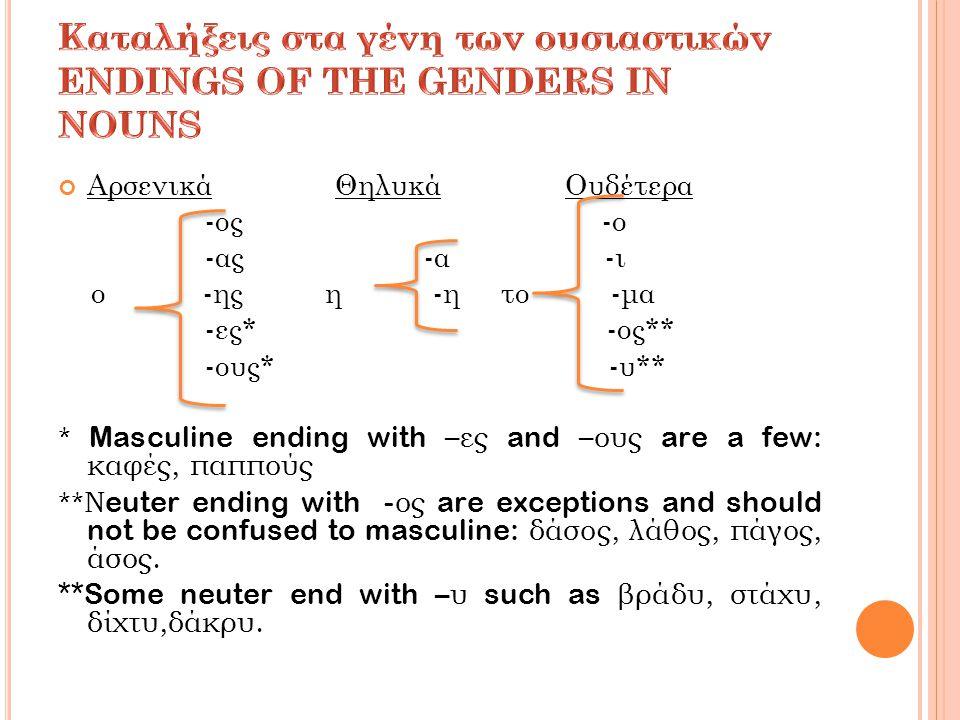 Ενικός (Singular) Πληθυντικός (Plural) All masculine nouns in –ος are declined this way!