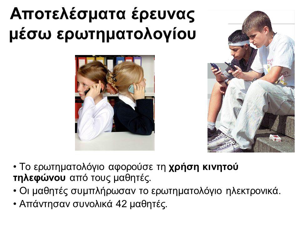 Αποτελέσματα έρευνας μέσω ερωτηματολογίου • Το ερωτηματολόγιο αφορούσε τη χρήση κινητού τηλεφώνου από τους μαθητές.