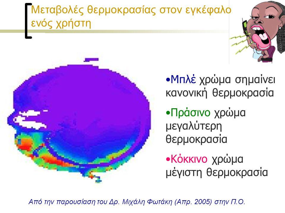 Μεταβολές θερμοκρασίας στον εγκέφαλο ενός χρήστη •Μπλέ χρώμα σημαίνει κανονική θερμοκρασία •Πράσινο χρώμα μεγαλύτερη θερμοκρασία •Κόκκινο χρώμα μέγιστη θερμοκρασία Από την παρουσίαση του Δρ.