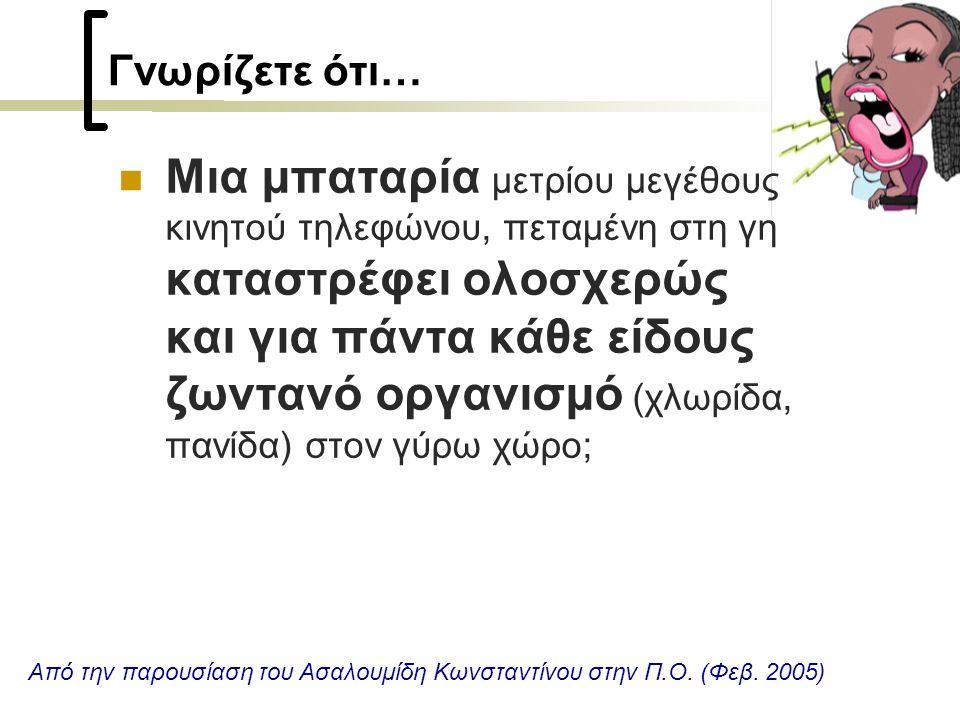 Γνωρίζετε ότι…  Μια μπαταρία μετρίου μεγέθους κινητού τηλεφώνου, πεταμένη στη γη καταστρέφει ολοσχερώς και για πάντα κάθε είδους ζωντανό οργανισμό (χλωρίδα, πανίδα) στον γύρω χώρο; Από την παρουσίαση του Ασαλουμίδη Κωνσταντίνου στην Π.Ο.