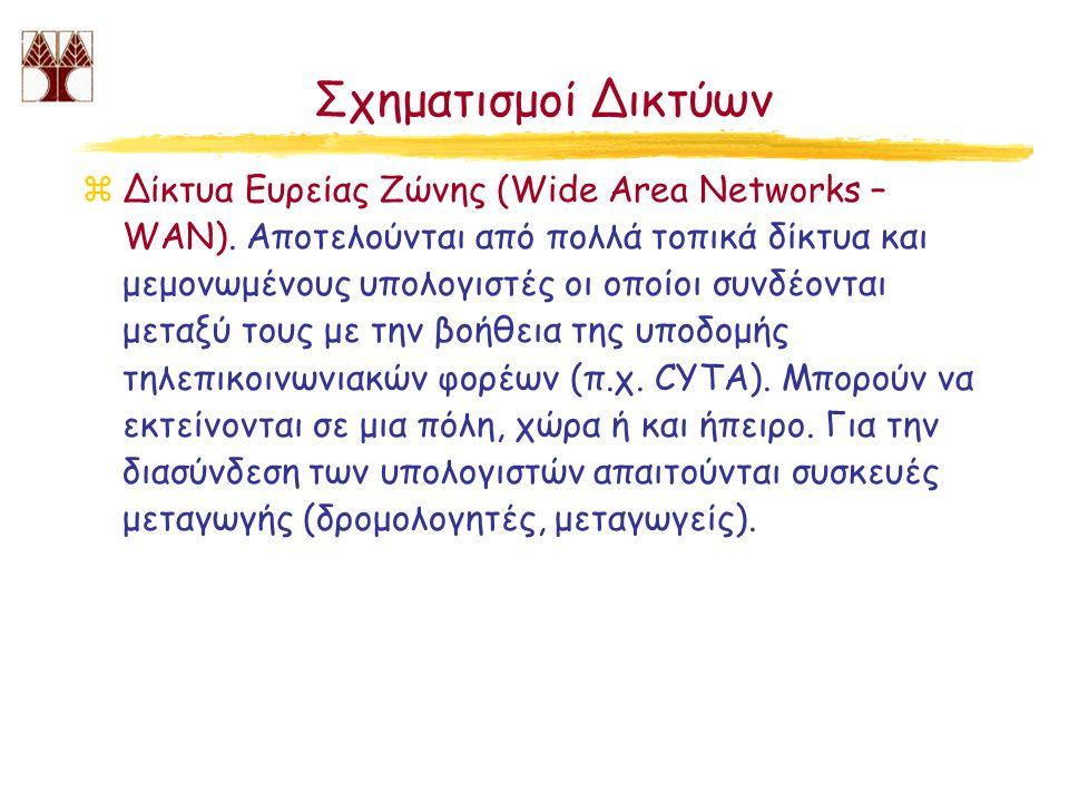 Σχηματισμοί Δικτύων zΔίκτυα Ευρείας Ζώνης (Wide Area Networks – WAN). Αποτελούνται από πολλά τοπικά δίκτυα και μεμονωμένους υπολογιστές οι οποίοι συνδ