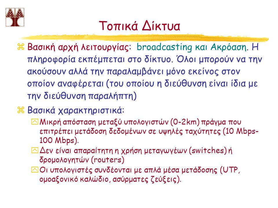 Τοπικά Δίκτυα zΒασική αρχή λειτουργίας: broadcasting και Ακρόαση. Η πληροφορία εκπέμπεται στο δίκτυο. Όλοι μπορούν να την ακούσουν αλλά την παραλαμβάν