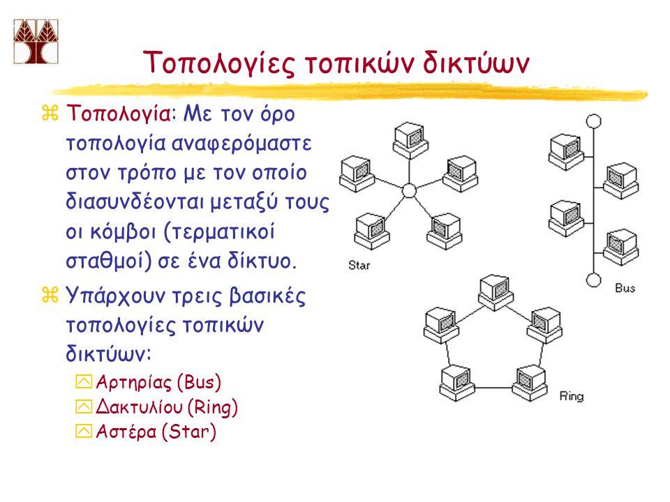 Τοπολογίες τοπικών δικτύων zΤοπολογία: Με τον όρο τοπολογία αναφερόμαστε στον τρόπο με τον οποίο διασυνδέονται μεταξύ τους οι κόμβοι (τερματικοί σταθμοί) σε ένα δίκτυο.