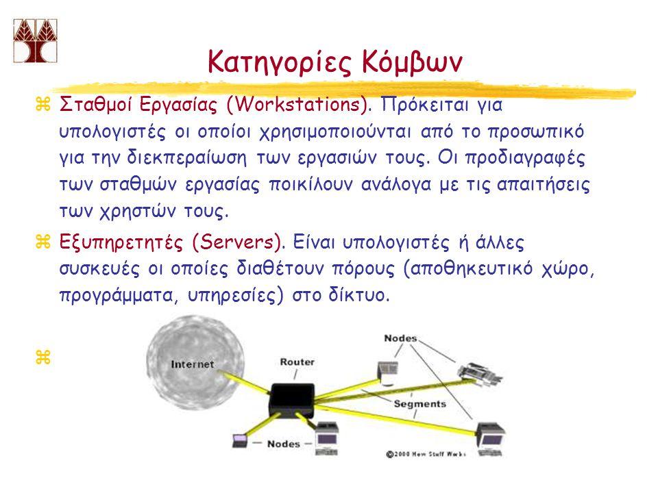 Κατηγορίες Κόμβων zΣταθμοί Εργασίας (Workstations). Πρόκειται για υπολογιστές οι οποίοι χρησιμοποιούνται από το προσωπικό για την διεκπεραίωση των εργ