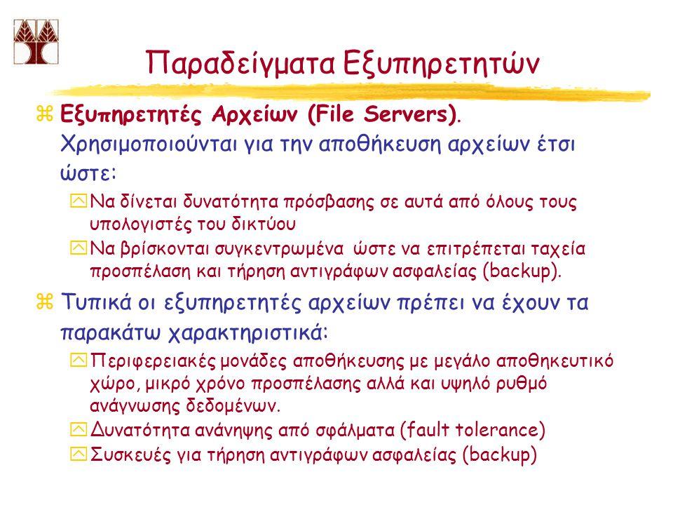 Παραδείγματα Εξυπηρετητών zΕξυπηρετητές Αρχείων (File Servers). Χρησιμοποιούνται για την αποθήκευση αρχείων έτσι ώστε: yΝα δίνεται δυνατότητα πρόσβαση