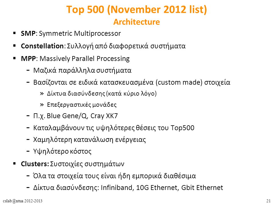 21cslab@ntua 2012-2013 Top 500 (November 2012 list) Architecture  SMP: Symmetric Multiprocessor  Constellation: Συλλογή από διαφορετικά συστήματα 