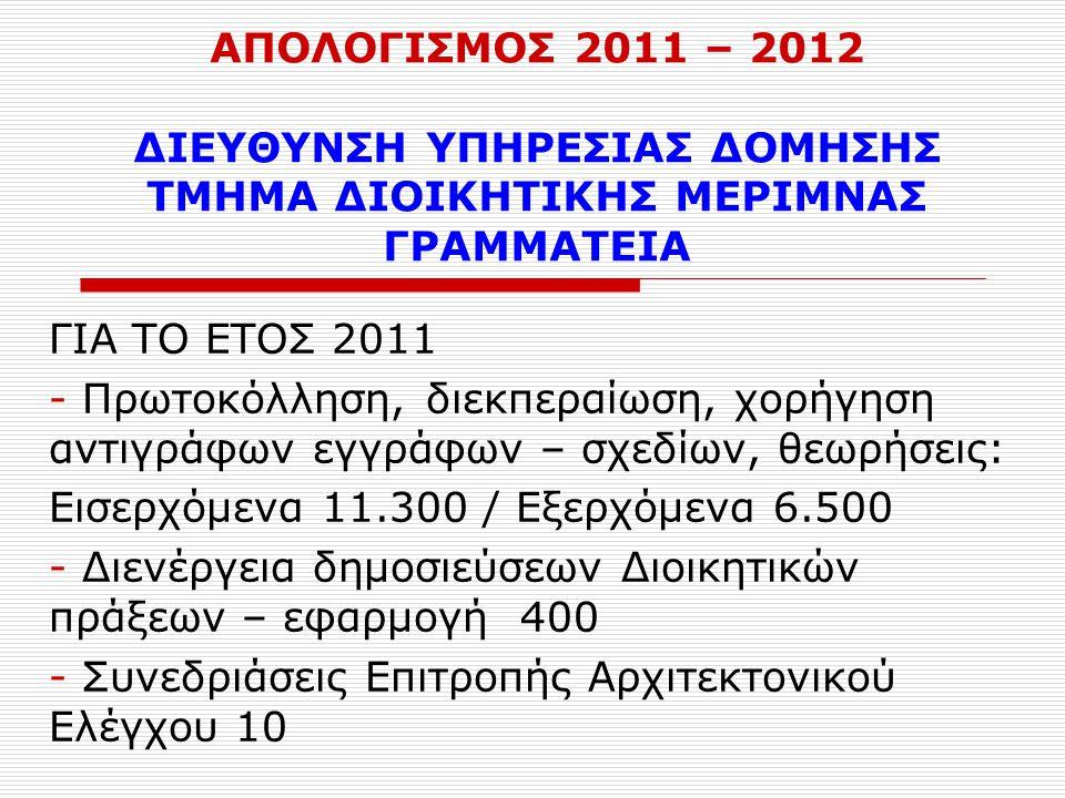 ΑΠΟΛΟΓΙΣΜΟΣ 2011 – 2012 ΔΙΕΥΘΥΝΣΗ ΥΠΗΡΕΣΙΑΣ ΔΟΜΗΣΗΣ ΤΜΗΜΑ ΔΙΟΙΚΗΤΙΚΗΣ ΜΕΡΙΜΝΑΣ ΓΡΑΜΜΑΤΕΙΑ ΓΙΑ ΤΟ ΕΤΟΣ 2011 - Πρωτοκόλληση, διεκπεραίωση, χορήγηση αντιγράφων εγγράφων – σχεδίων, θεωρήσεις: Εισερχόμενα 11.300 / Εξερχόμενα 6.500 - Διενέργεια δημοσιεύσεων Διοικητικών πράξεων – εφαρμογή 400 - Συνεδριάσεις Επιτροπής Αρχιτεκτονικού Ελέγχου 10