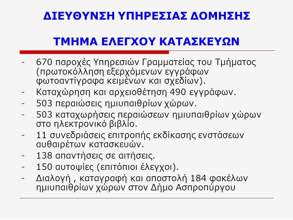 ΔΙΕΥΘΥΝΣΗ ΥΠΗΡΕΣΙΑΣ ΔΟΜΗΣΗΣ ΤΜΗΜΑ ΕΛΕΓΧΟΥ ΚΑΤΑΣΚΕΥΩΝ -670 παροχές Υπηρεσιών Γραμματείας του Τμήματος (πρωτοκόλληση εξερχόμενων εγγράφων φωτοαντίγραφα