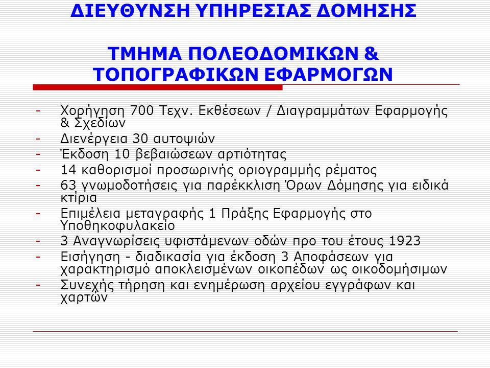 ΔΙΕΥΘΥΝΣΗ ΥΠΗΡΕΣΙΑΣ ΔΟΜΗΣΗΣ ΤΜΗΜΑ ΠΟΛΕΟΔΟΜΙΚΩΝ & ΤΟΠΟΓΡΑΦΙΚΩΝ ΕΦΑΡΜΟΓΩΝ -Χορήγηση 700 Τεχν. Εκθέσεων / Διαγραμμάτων Εφαρμογής & Σχεδίων -Διενέργεια 30
