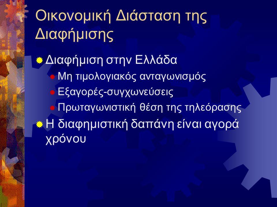 Οικονομική Διάσταση της Διαφήμισης  Διαφήμιση στην Ελλάδα  Μη τιμολογιακός ανταγωνισμός  Εξαγορές-συγχωνεύσεις  Πρωταγωνιστική θέση της τηλεόρασης  Η διαφημιστική δαπάνη είναι αγορά χρόνου