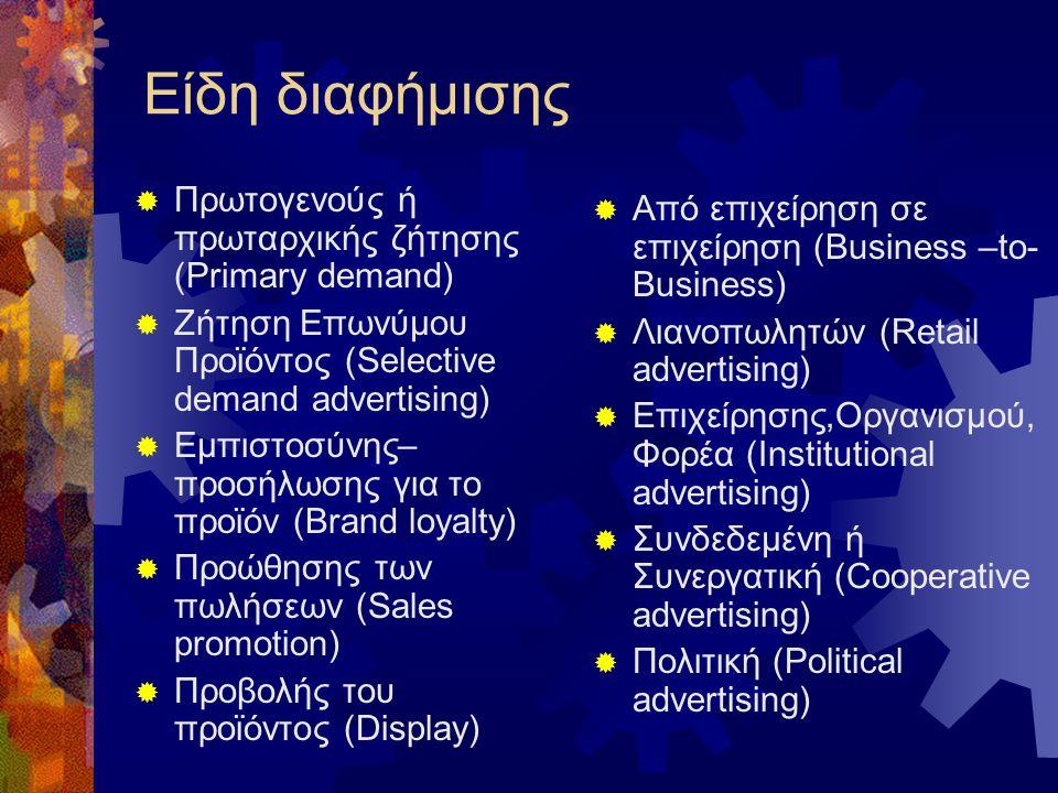 Είδη διαφήμισης  Πρωτογενούς ή πρωταρχικής ζήτησης (Primary demand)  Ζήτηση Επωνύμου Προϊόντος (Selective demand advertising)  Εμπιστοσύνης– προσήλωσης για το προϊόν (Brand loyalty)  Προώθησης των πωλήσεων (Sales promotion)  Προβολής του προϊόντος (Display)  Από επιχείρηση σε επιχείρηση (Business –to- Business)  Λιανοπωλητών (Retail advertising)  Επιχείρησης,Οργανισμού, Φορέα (Institutional advertising)  Συνδεδεμένη ή Συνεργατική (Cooperative advertising)  Πολιτική (Political advertising)