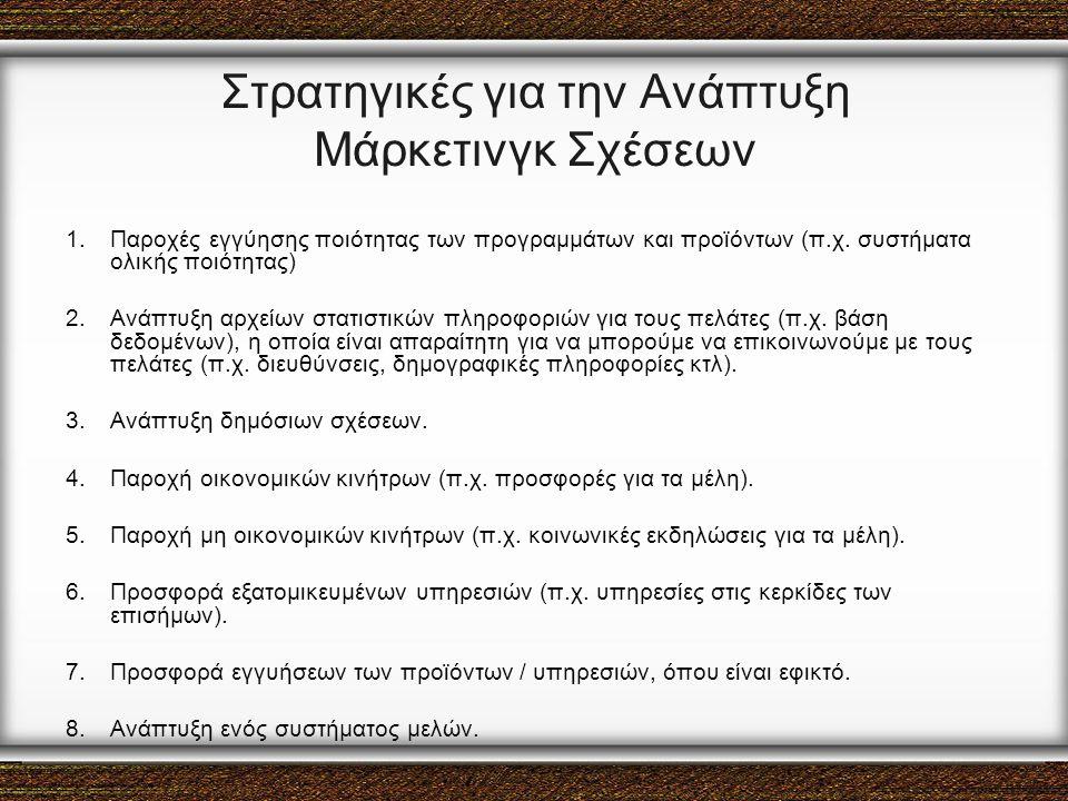 Στρατηγικές για την Ανάπτυξη Μάρκετινγκ Σχέσεων 1.Παροχές εγγύησης ποιότητας των προγραμμάτων και προϊόντων (π.χ. συστήματα ολικής ποιότητας) 2.Ανάπτυ