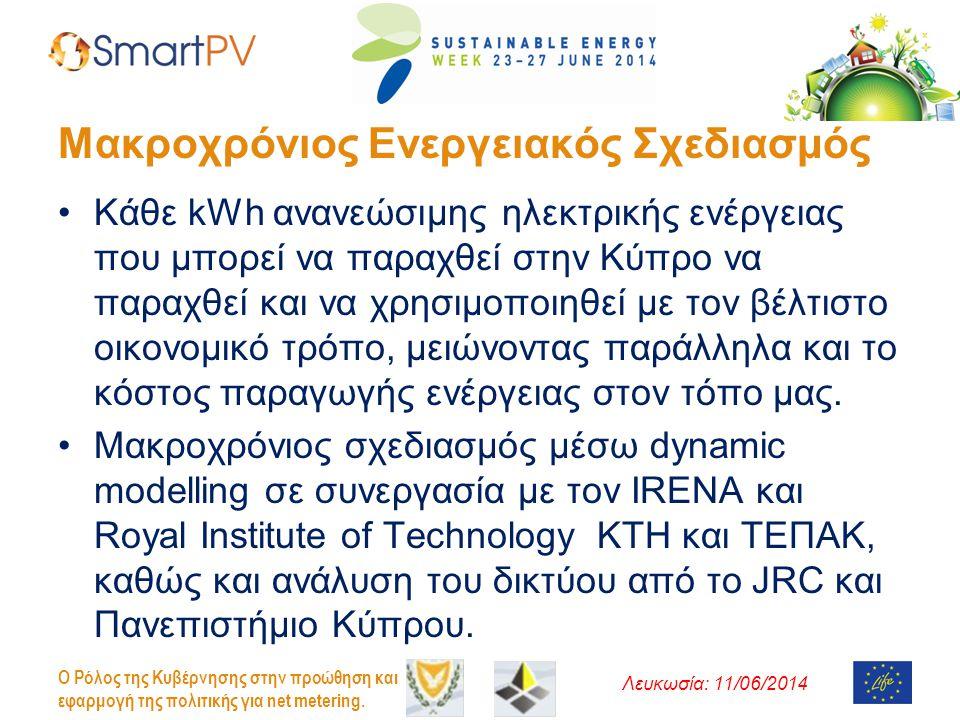 Λευκωσία: 11/06/2014 O Ρόλος της Κυβέρνησης στην προώθηση και εφαρμογή της πολιτικής για net metering. Μακροχρόνιος Ενεργειακός Σχεδιασμός •Κάθε kWh α