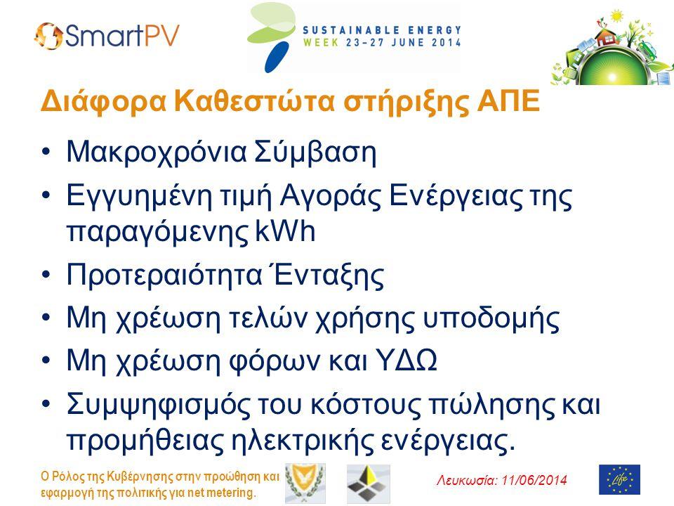 Λευκωσία: 11/06/2014 O Ρόλος της Κυβέρνησης στην προώθηση και εφαρμογή της πολιτικής για net metering. Διάφορα Καθεστώτα στήριξης ΑΠΕ •Μακροχρόνια Σύμ