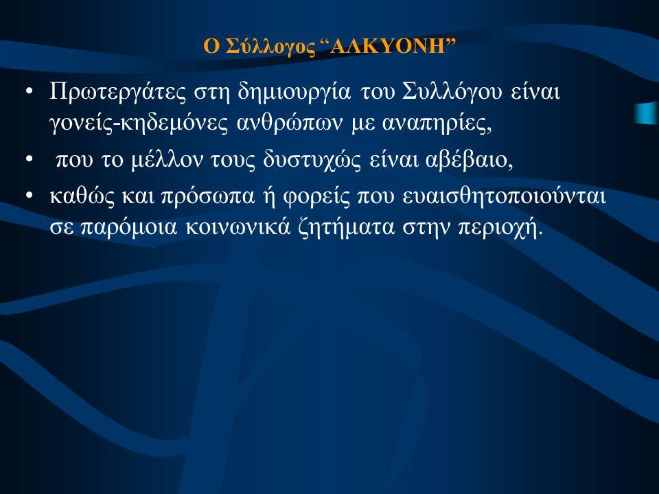 Δράσεις : (Ιούλιος 2003 – έως σήμερα) •Καταγραφή των οικογενειών – μελών ατόμων με ειδικές ανάγκες.