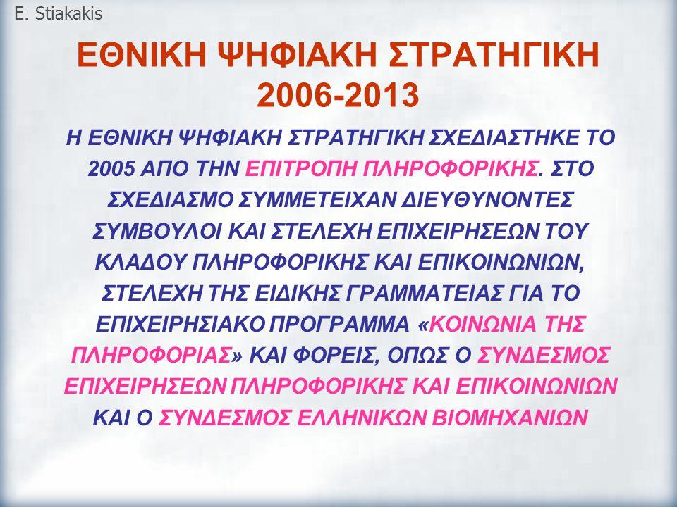 ΣΤΟΧΟΙ ΤΗΣ ΕΘΝΙΚΗΣ ΨΗΦΙΑΚΗΣ ΣΤΡΑΤΗΓΙΚΗΣ 2006-2013 ΒΕΛΤΙΩΣΗ ΤΗΣ ΠΑΡΑΓΩΓΙΚΟΤΗΤΑΣ ΤΗΣ ΕΛΛΗΝΙΚΗΣ ΟΙΚΟΝΟΜΙΑΣ  Προώθηση της χρήσης των ΤΠΕ στις επιχειρήσεις  Παροχή ψηφιακών υπηρεσιών προς τις επιχειρήσεις και παράλληλη αναδιοργάνωση του δημόσιου τομέα  Υποστήριξη του κλάδου των ΤΠΕ  Προώθηση της επιχειρηματικότητας σε τομείς που αξιοποιούν τις ΤΠΕ ΒΕΛΤΙΩΣΗ ΤΗΣ ΠΟΙΟΤΗΤΑΣ ΤΗΣ ΚΑΘΗΜΕΡΙΝΗΣ ΖΩΗΣ ΤΩΝ ΠΟΛΙΤΩΝ  Βελτίωση της καθημερινής ζωής μέσω των ΤΠΕ  Ανάπτυξη ψηφιακών υπηρεσιών για τον πολίτη E.