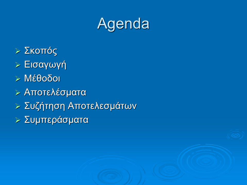 Agenda  Σκοπός  Εισαγωγή  Μέθοδοι  Αποτελέσματα  Συζήτηση Αποτελεσμάτων  Συμπεράσματα