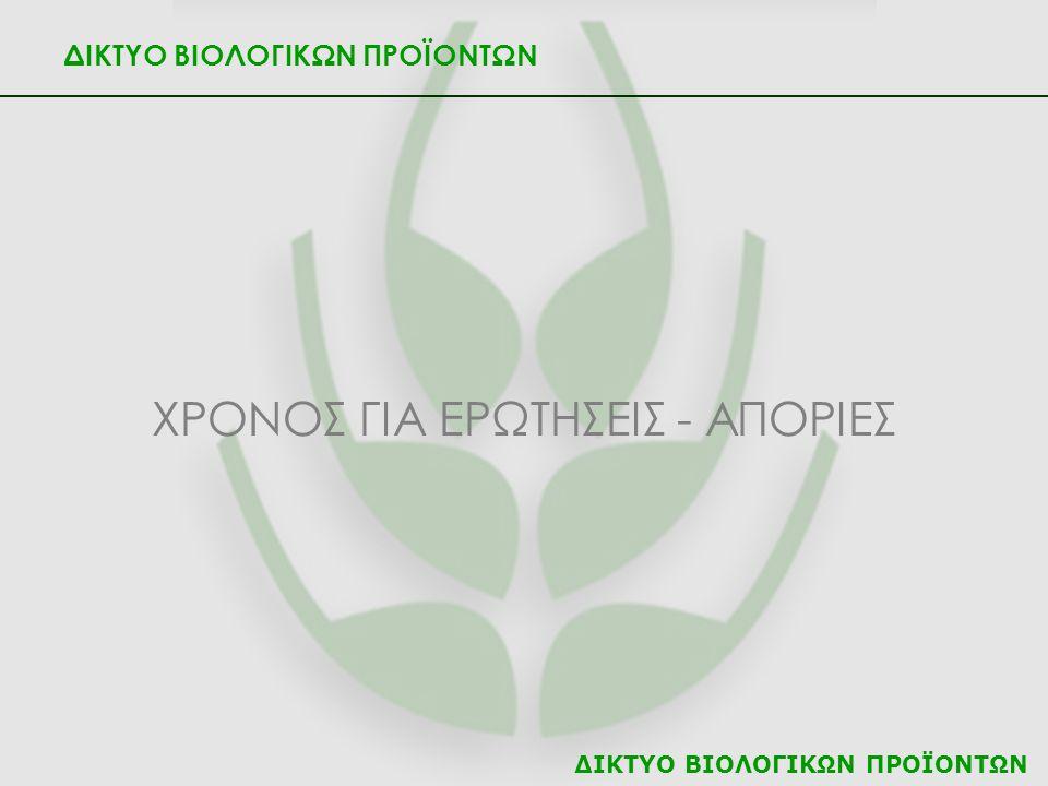 ΔΙΚΤΥΟ ΒΙΟΛΟΓΙΚΩΝ ΠΡΟΪΟΝΤΩΝ ΧΡΟΝΟΣ ΓΙΑ ΕΡΩΤΗΣΕΙΣ - ΑΠΟΡΙΕΣ