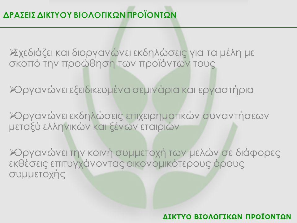 ΔΙΚΤΥΟ ΒΙΟΛΟΓΙΚΩΝ ΠΡΟΪΟΝΤΩΝ ΔΡΑΣΕΙΣ ΔΙΚΤΥΟΥ ΒΙΟΛΟΓΙΚΩΝ ΠΡΟΪΟΝΤΩΝ  Οργανώνει εκδηλώσεις ενημέρωσης του κοινού  Συμμετέχει σε Ευρωπαϊκά και Εθνικά Προγράμματα  Ενημερώνει τα μέλη με ότι νεότερο υπάρχει σε σχέση με τις αγορές και τη βιολογική καλλιέργεια