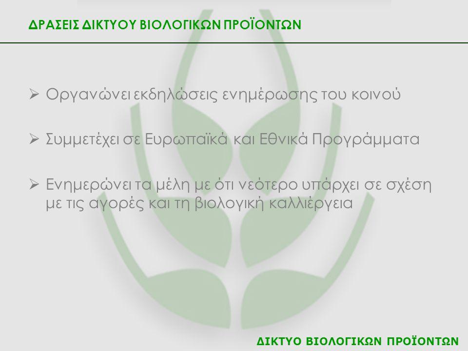 ΔΙΚΤΥΟ ΒΙΟΛΟΓΙΚΩΝ ΠΡΟΪΟΝΤΩΝ ΔΡΑΣΕΙΣ ΔΙΚΤΥΟΥ ΒΙΟΛΟΓΙΚΩΝ ΠΡΟΪΟΝΤΩΝ  Οργανώνει εκδηλώσεις ενημέρωσης του κοινού  Συμμετέχει σε Ευρωπαϊκά και Εθνικά Προ