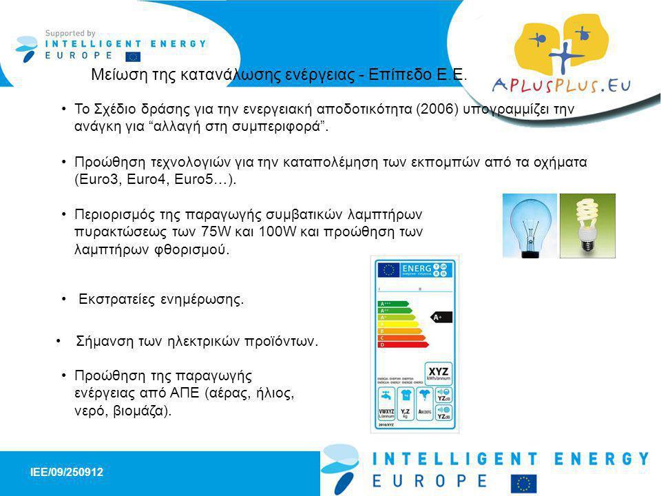 IEE/09/250912 SHEEP - A Schools panel for High Energy Efficiency Products 6 •Χρήση βιοκαυσίμων στα μέσα μαζικής μεταφοράς •Φωτοβολταϊκά πλαίσια στους στύλους φωτισμού στους δρόμους •Παροχή υποδομών για την ανακύκλωση των αστικών αποβλήτων •Εκστρατείες ενημέρωσης του κοινού σε τοπικό επίπεδο •Προώθηση και αρωγή των ιδιοκτητών ακινήτων για την προσθήκη μόνωσης στα κτίρια και τις κατοικίες •Προώθηση των ενεργειακά αποδοτικών προϊόντων και συσκευών Μείωση της κατανάλωσης ενέργειας – Επίπεδο Δήμου