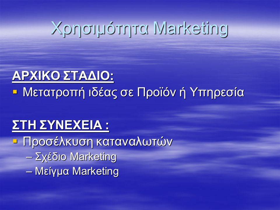Χρησιμότητα Marketing ΑΡΧΙΚΟ ΣΤΑΔΙΟ:  Μετατροπή ιδέας σε Προϊόν ή Υπηρεσία ΣΤΗ ΣΥΝΕΧΕΙΑ :  Προσέλκυση καταναλωτών –Σχέδιο Marketing –Μείγμα Marketin