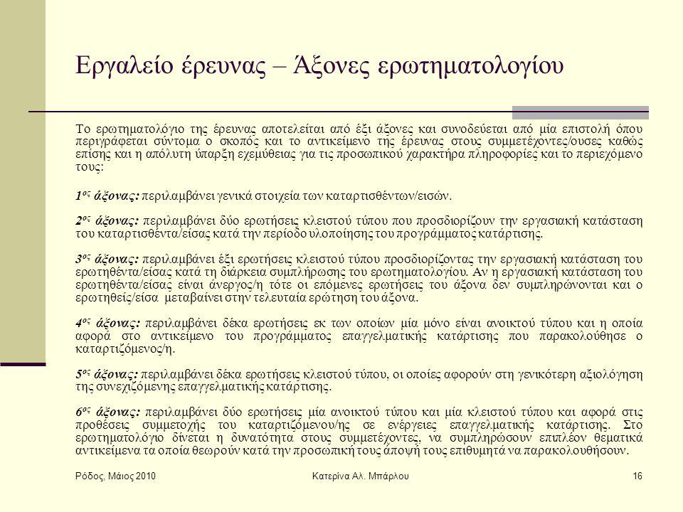 Ρόδος, Μάιος 2010 Κατερίνα Αλ. Μπάρλου16 Εργαλείο έρευνας – Άξονες ερωτηματολογίου Το ερωτηματολόγιο της έρευνας αποτελείται από έξι άξονες και συνοδε
