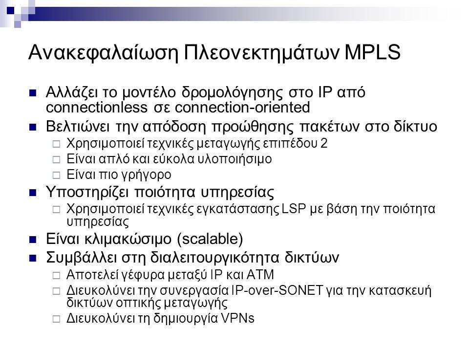 Ανακεφαλαίωση Πλεονεκτημάτων MPLS  Αλλάζει το μοντέλο δρομολόγησης στο IP από connectionless σε connection-oriented  Βελτιώνει την απόδοση προώθησης