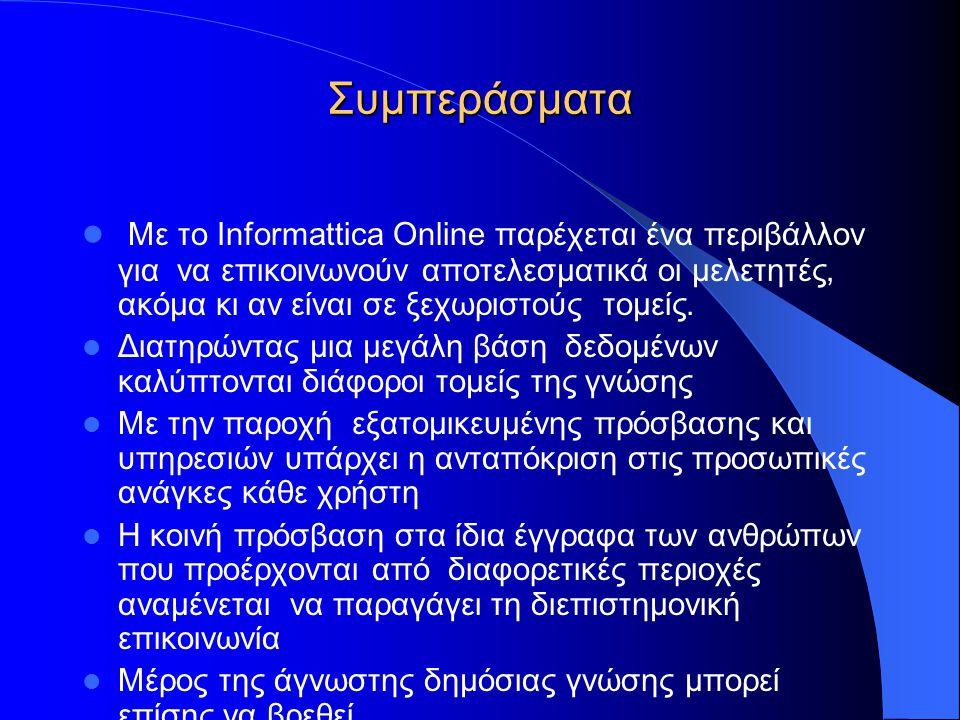 Συμπεράσματα  Με το Informattica Online παρέχεται ένα περιβάλλον για να επικοινωνούν αποτελεσματικά οι μελετητές, ακόμα κι αν είναι σε ξεχωριστούς τομείς.