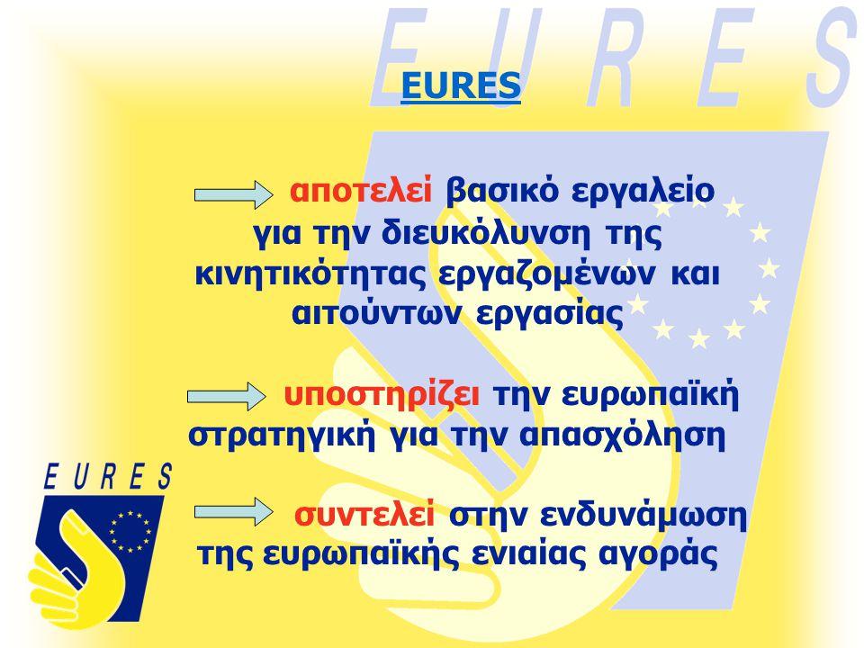 αποτελεί βασικό εργαλείο για την διευκόλυνση της κινητικότητας εργαζομένων και αιτούντων εργασίας υποστηρίζει την ευρωπαϊκή στρατηγική για την απασχόληση συντελεί στην ενδυνάμωση της ευρωπαϊκής ενιαίας αγοράς EURES