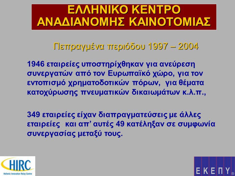 Πεπραγμένα περιόδου 1997 – 2004 1946 εταιρείες υποστηρίχθηκαν για ανεύρεση συνεργατών από τον Ευρωπαϊκό χώρο, για τον εντοπισμό χρηματοδοτικών πόρων, για θέματα κατοχύρωσης πνευματικών δικαιωμάτων κ.λ.π., 349 εταιρείες είχαν διαπραγματεύσεις με άλλες εταιρείες και απ' αυτές 49 κατέληξαν σε συμφωνία συνεργασίας μεταξύ τους.