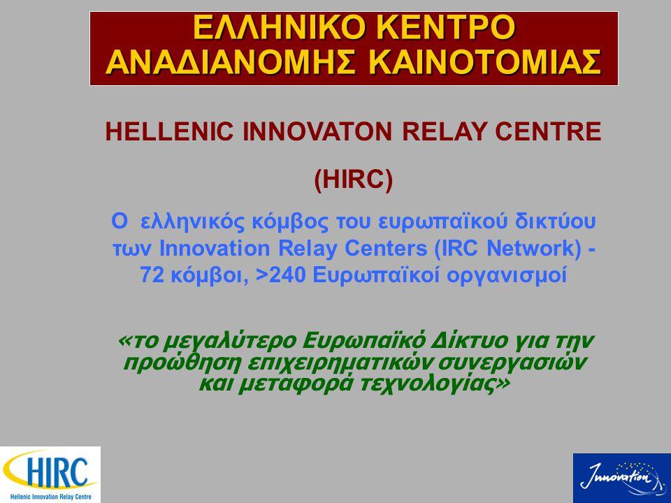 HELLENIC INNOVATON RELAY CENTRE (HIRC) Ο ελληνικός κόμβος του ευρωπαϊκού δικτύου των Innovation Relay Centers (IRC Network) - 72 κόμβοι, >240 Ευρωπαϊκοί οργανισμοί «το μεγαλύτερο Ευρωπαϊκό Δίκτυο για την προώθηση επιχειρηματικών συνεργασιών και μεταφορά τεχνολογίας» ΕΛΛΗΝΙΚΟ ΚΕΝΤΡΟ ΑΝΑΔΙΑΝΟΜΗΣ ΚΑΙΝΟΤΟΜΙΑΣ
