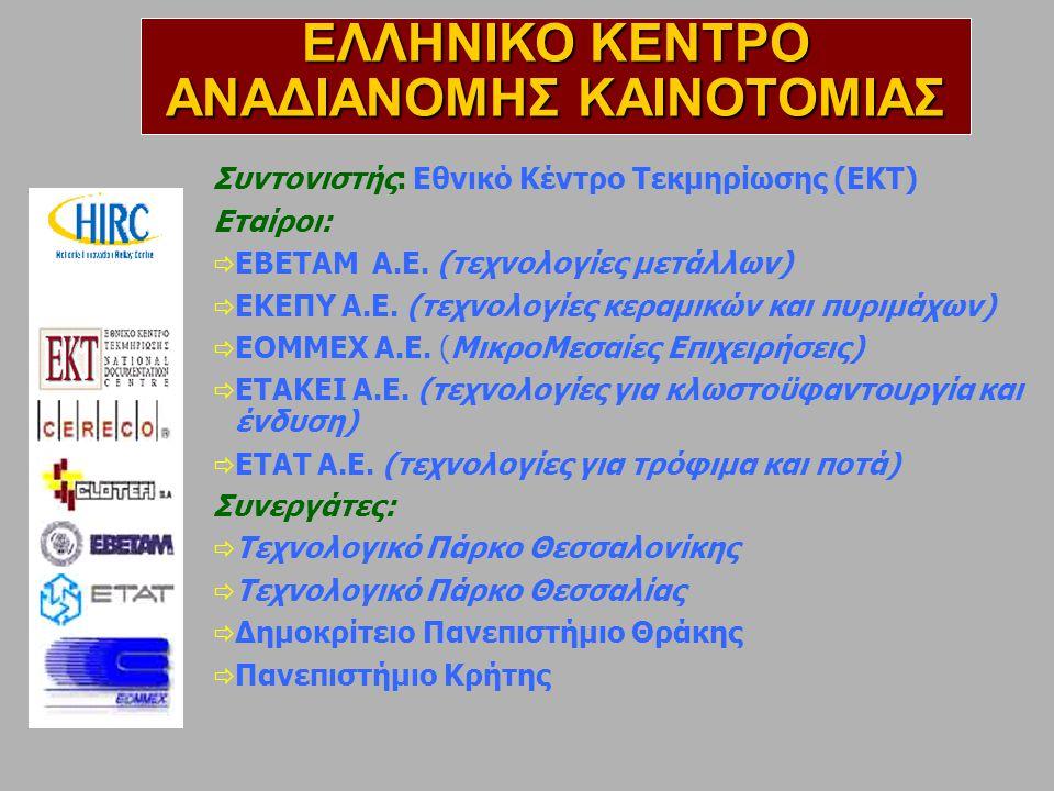 Διοργάνωση Forum Επιχειρηματικών Συναντήσεων Μεταφοράς Τεχνολογίας ΑΝΑΖΗΤΗΣΗ ΣΥΝΕΡΓΑΤΩΝ ΑΠΟ ΕΕ ΕΛΛΗΝΙΚΟ ΚΕΝΤΡΟ ΑΝΑΔΙΑΝΟΜΗΣ ΚΑΙΝΟΤΟΜΙΑΣ Hannovermesse (Βιομηχανικά προϊόντα, Υλικά) Aquapartners (Ιχθυοκαλλιέργειες, Αυτοματισμοί) Infralympics 1 & 2 (Πληροφορική, Τηλεπικοινωνίες, Αυτοματισμοί, Κατασκευές, για Athens Olympics 2004) AΡΤΟΖΑ (Τρόφιμα) CEBIT (Πληροφορική, Τηλεπικοινωνίες, Αυτοματισμοί) IBEX (E-Commerce) Envitec (Περιβάλλον)