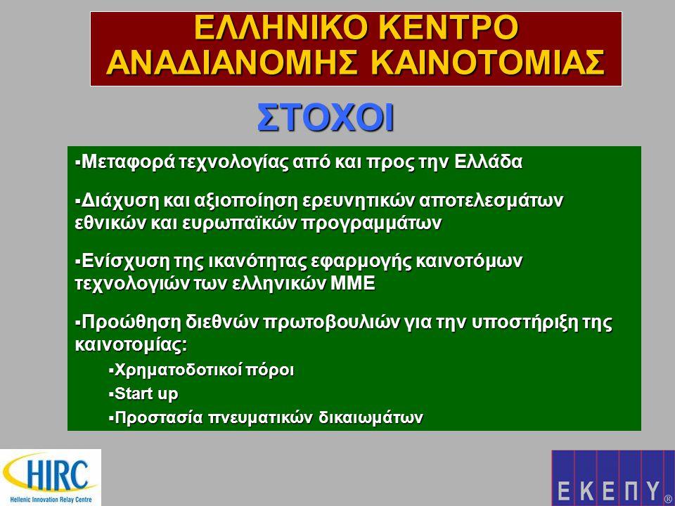 ΣΤΟΧΟΙ  Μεταφορά τεχνολογίας από και προς την Ελλάδα  Διάχυση και αξιοποίηση ερευνητικών αποτελεσμάτων εθνικών και ευρωπαϊκών προγραμμάτων  Ενίσχυση της ικανότητας εφαρμογής καινοτόμων τεχνολογιών των ελληνικών ΜΜΕ  Προώθηση διεθνών πρωτοβουλιών για την υποστήριξη της καινοτομίας:  Χρηματοδοτικοί πόροι  Start up  Προστασία πνευματικών δικαιωμάτων