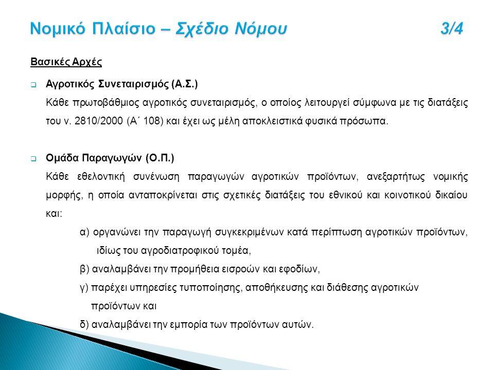 Βασικές Αρχές  Αγροτικός Συνεταιρισμός (Α.Σ.) Κάθε πρωτοβάθμιος αγροτικός συνεταιρισμός, ο οποίος λειτουργεί σύμφωνα με τις διατάξεις του ν. 2810/200