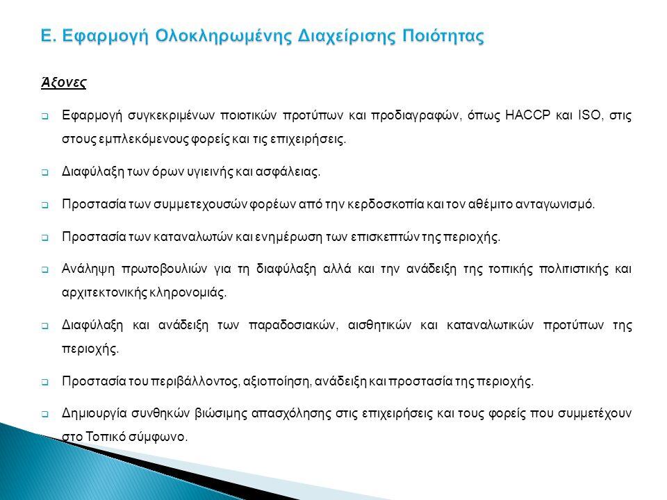 Άξονες  Εφαρμογή συγκεκριμένων ποιοτικών προτύπων και προδιαγραφών, όπως HACCP και ISO, στις στους εμπλεκόμενους φορείς και τις επιχειρήσεις.  Διαφύ